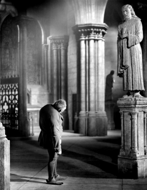 "Charles Laughton as Quasimodo in The Hunchback of Notre Dame (1939, dir. William Dieterle) (via) ""When a  man understands the art of seeing, he can trace the spirit of an age  and the features of a king even in the knocker on a door."""