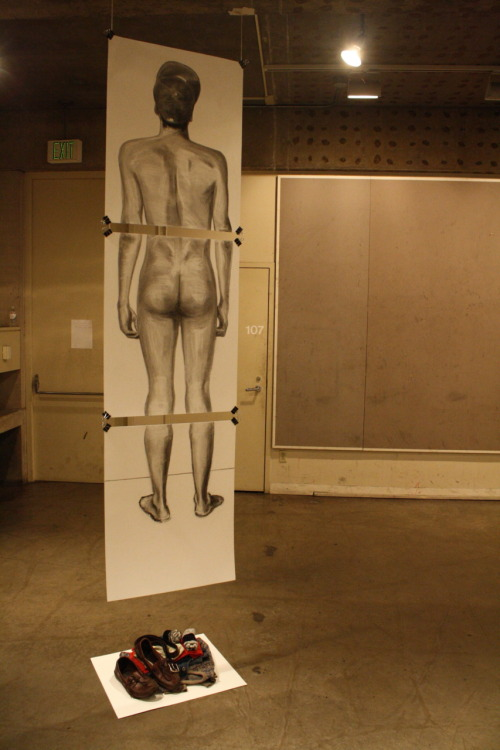 """Pause"", charcoal drawing and installation"