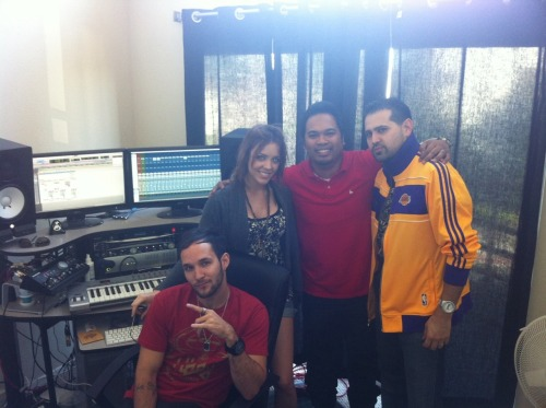Mach 1's Eddie Galan & Alex Niceforo in the studio doing work with Kacie Brown-Monroe (Interscope Records) & 102.7 KIIS FM's Manny Guevara (Manny on the Streetz)