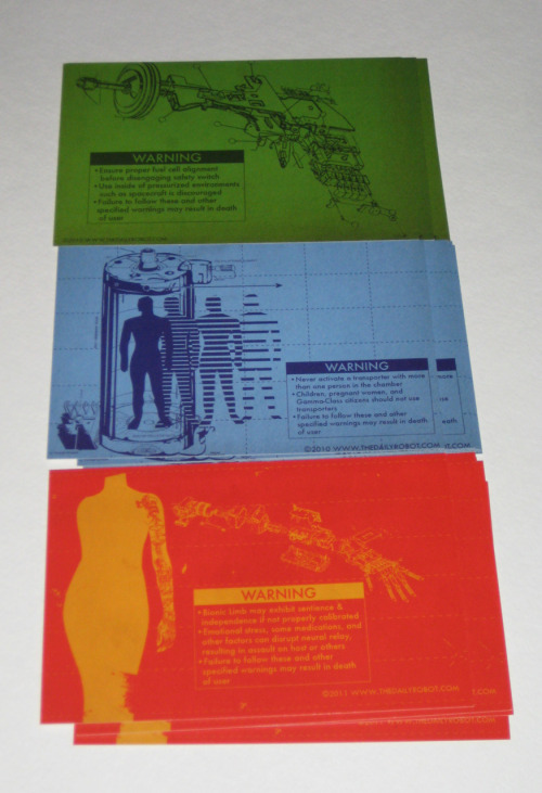 NEW! EXCITING! Postcards with designs from all the Science Fiction Danger Awareness Series! You can get a 15-pack of them!  Or you can still get the posters!