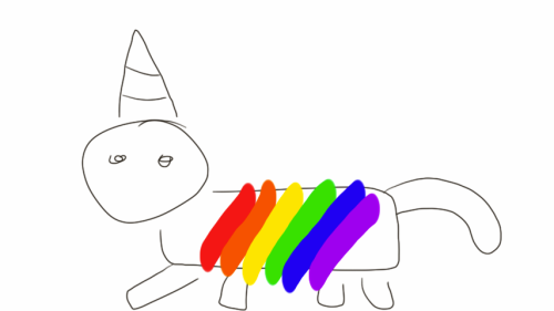 THE GAYEST THING I EVER DREW. RAINBOW UNICORN. AND I DON'T EVEN LIKE UNICORNS.