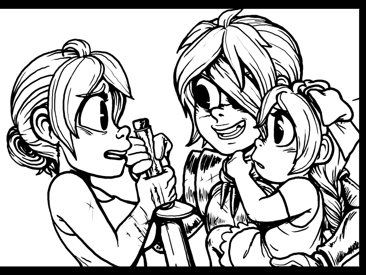 I was really fond of this panel from my Dead Winter guest comic when I inked it (in Photoshop this time), and was sad that it didn't look the same when resized. But hey! That's what Tumblr is for! Click to view it full size.