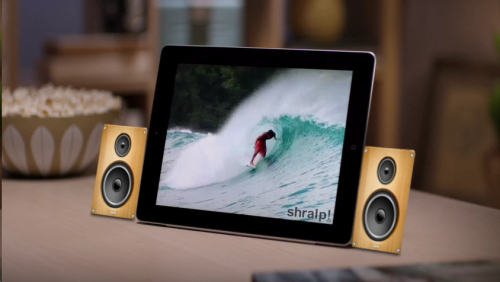 Wireless Movie Speakers for the iPad2: Rechargeable, battery driven, receives audio via AirTunes (wifi). Absolutely wireless. Snaps to the iPad with magnets. My submission to Quirky's iPad2 accessory brief. See, comment and vote for my submission and others here.