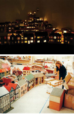 Rachel Whiteread's Place (Village) (top) and view of installation process below