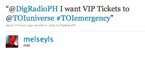 Congratulations to @melseyls on twitter for winning a pair of TOI  E M E R G E N C Y  VIP tickets! Please reply by 12 noon tomorrow (we sent you a direct message) or the tickets will be given to the one of the others who joined.  For those who are interested in going, follow TOI on Facebook so you can inquire about regular tickets! Thanks everyone! Till the next promo!