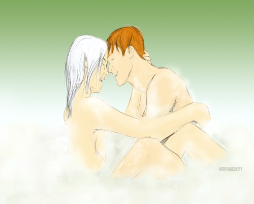 Bubble Bath by Ladytalon1 on Deviantart. (Source)  I don't usually post anything particularly racy on this Tumblr, but in this case… hnf.