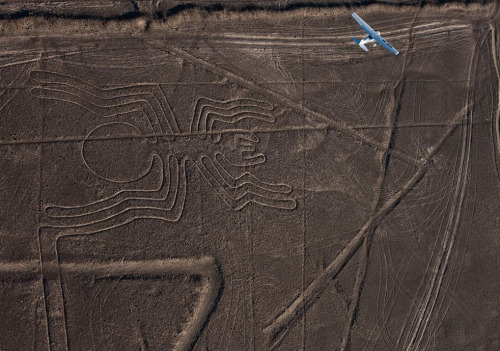 rustybreak:  Nasca Lines, Peru.In the coastal desert of southern Peru, sprawling figures etched on the land — a spider, a monkey, a strange flying animal, and more — have inspired wonder in air travellers since first spotted in the 1920s. Now scientists are to discover why ancient people created the designs, beginning more than 2000 years ago.