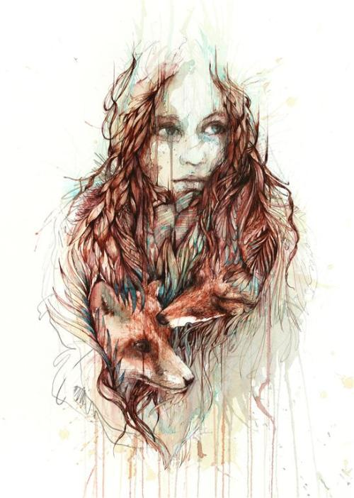 Carne Griffiths | on Tumblr - Comfort. Ink and chai tea on watercolour paper