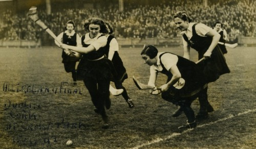 Action from the 1942 All-Ireland Camogie Final between Dublin and Cork.