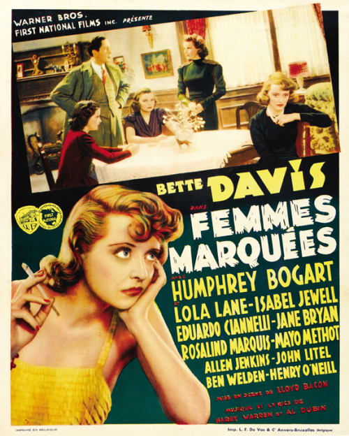 the-asphalt-jungle:  Marked Woman - 1937 French poster