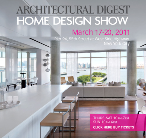 tomorrow we're attending Architectural Digest's 10th annual design show. thursday is trade only, so it shouldn't be too crowded. it'll be a good day to be in interior design! very excited! -michele
