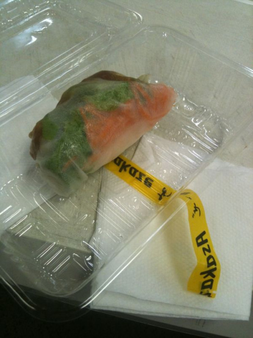 Lunch today: Japanese rice paper roll.  Just keeping you up to date guys!