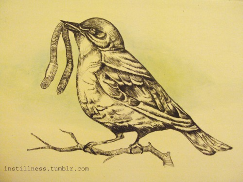 """Early Bird"" Rebecca Ladds, 2010. Drypoint.  My favourite print I have done to date."