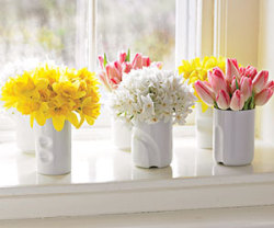 Happy Spring! Here's a simple decorating tip from familycircle.com Getting Fresh   Bring spring indoors by arranging bunches of bouquets in monochromatic clusters on a windowsill or table.  Here's How: Choose buds with bright contrasting colors, such as yellow daffodils, white narcissus, and pink tulips. Select short vases (ours are 4-inch Japanese teacups), and cut stems at an angle to the height of the vase. Remove most leaves from the stems. Fill containers halfway with water and arrange blooms in tight bunches.