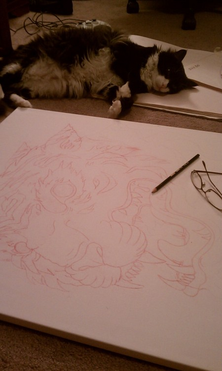 Transfered to canvas! (24x30) Along with my fat cat Gaston chillin with me :)