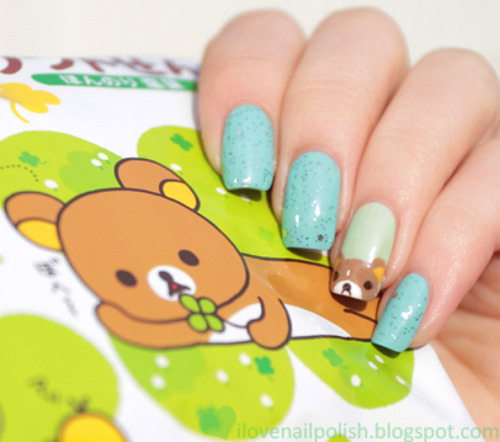 high-on-polish:  cute bear nails