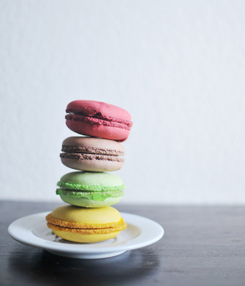 Multicoloured macaroons recipe Ingredients  175g icing sugar 125g ground almonds 3 large free-range egg whites 75g caster sugar For the filling 150g butter, softened 75g icing sugar Method 1. Preheat the oven to 160°C/fan140°C/gas 3. Whizz the  icing  sugar and ground almonds in a food processor to a very fine  mixture,  then sift into a bowl.  2. In a separate bowl, whisk  the egg whites with a pinch of  salt to soft peaks, then gradually whisk  in the caster sugar until  thick and glossy. (At this point you can stir  in flavour extract, such  as peppermint or lemon, and corresponding  colouring such as blue or  yellow, to your meringue mixture, depending on  what kind of macaroons  you want – see chef's tip. Or divide the  meringue among different bowls  if you want to make more than one  colour.)  3. Fold half the almond and icing sugar mixture into  the  meringue and mix well. Add the remaining half, making sure you use a   spatula to cut and fold the mixture until it is shiny and has a thick,   ribbon-like consistency as it falls from the spatula. Spoon into a   piping bag fitted with a 1cm plain nozzle.  4. Line 2 baking  sheets with baking paper. Pipe small rounds  of the macaroon mixture,  about 3cm across, onto the baking sheets.  Give the baking sheets a sharp  tap on the work surface to ensure a good  'foot'. Leave to stand at room  temperature for 10-15 minutes to form a  slight skin. This is important –  you should be able to touch them  lightly without any mixture sticking  to your finger. Bake for 15  minutes. Remove from the oven and cool.  5.  Meanwhile, make the filling/s (unless making chocolate  macaroons – see  chef's tip). In a bowl, beat the butter until light and  fluffy, then  beat in the icing sugar. (You can now add flavouring or  nuts, and   colour – see chef's tip.) Use to sandwich pairs of macaroons  together.