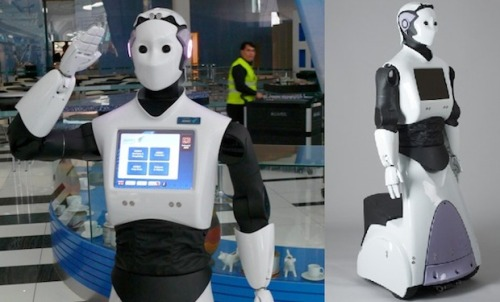 "Robot butlers are finally here:  PAL Robotics has been working on its REEM-x lineup of wheeled humanoid robots for some time. Now it's just revealed its newest edition, simply called REEM, which is its first commercial offering. He's a genuine robot butler. PAL, a Spanish company with interests in the United Arab Emirates, describes REEM as a ""humanoid robot, equipped with an autonomous navigation system, a touch screen"" and notes that he is ""capable of roaming through any kind of surroundings"" thanks to the simple wheeled-base assembly. The company thinks it can be used as ""a guide, an entertainer, a logistical tool."" And its large chest-based touchscreen has a ""variety of applications,"" such as ""displaying a map of the surrounding area"" or for ""teleassistance."" The droid is highly customizable thanks to a modular design, and can be customized for each customer's needs. REEM's 1.65 meters tall, and can trolley along at about 5km per hour (for comparison, theaverage height of people in the US is just over 1.7 meters, and a typical human walking pace is just under 5km per hour). His base is a rigid wheeled platform that contains the motors and the lithium battery cell that gives the robot about eight hours of autonomous movements (a typical working day is about eight hours—see what PAL is aiming at here?). But the upper torso of the bot is more android-like, and includes motorized arms and gripping hands, a movable head that's paced with sensors that let it track and recognize faces, and a multimedia touch screen. There's also a platform on the base so the bot can carry objects. But quite apart from that, REEM represents something of a breakthrough: The development of the various earlier REEM incarnations garnered lots of attention for PAL, but this is the pinnacle of the company's achievements and he's its first commercial product. In fact, around 20 are already in construction for clients in the Middle East."