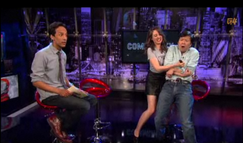 somuchfunithurts:  Alison Brie greets guest Ken Jeong with a friendly stab while hosting Attack of the Show with Danny Pudi  Not happy that I missed this.