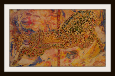 Gold Horses by Judi Offenberg (silk painting).
