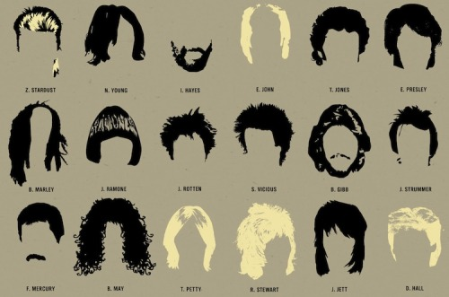 Infographic of the Day: 108 of the Best Haircuts in Music History   What's pop music without crazy haircuts? Nothing, that's what — and as iconic as the great pop stars are, you might be surprised at how iconic their hair is, all by itself. Just check this new poster from Pop Chart Lab, which reproduces the haircuts of 108 inimitable pop stars. The truly uncanny thing is how many you can probably recognize without even looking at the name: Weird, right? Of course, the poster has many, many omissions — I mean seriously, no Bieber? C'MON. But if you tweet new suggestions to @popchartlab and they use it in the next version of the poster, they'll give you a $10 giftcard.     See the full chart when you click through.