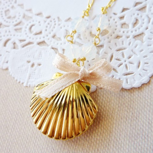 14k Gold-Plated Brass Shell Locket with White Faceted Crystals Necklace via Katheyl
