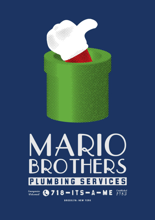 mrshabba:  Mario Brothers Plumbing Services Print The design that started it all. I've reworked my Mario Brothers Plumbing Services t-shirt design into a limited edition print. With this  design I've gone for a rather iconic looking minimalist-style poster  that will look awesome on literally anyone's wall! As with all of GamerPrint's posters, each one is individually numbered and signed. Available to buy now over at GamerPrint in either A1 or A2 sizes.