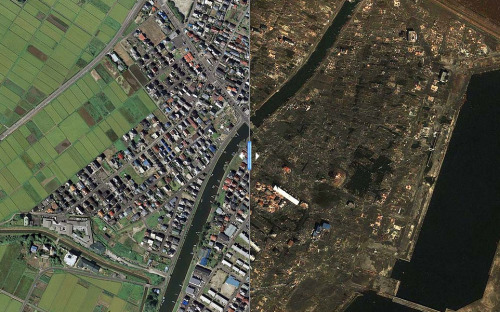 A series of satellite images of Japan, using a slider to view cities before and after catastrophic damage from the 9.0 earthquake and subsequent tsunami.