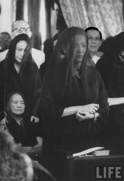 mosquitopress:  First Lady Luz Magsaysay during funeral mass for husband, Pres. Ramon Magsaysay, March, 1957 — Archives