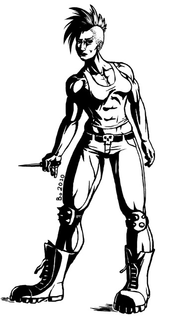 Some older high contrast picture of a muscular female punk.