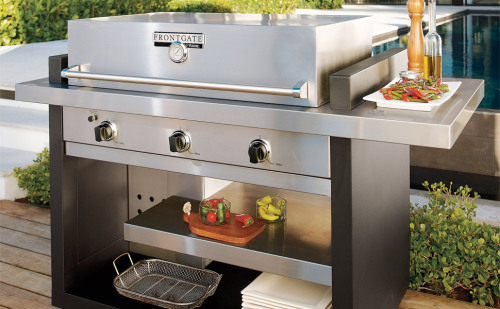 The  Frontgate Viking Grill ($3,000) is stainless steel, has an open cart design, a push-button ignition with three 25,000 BTU stainless steel burners. Talk about NICE!!!
