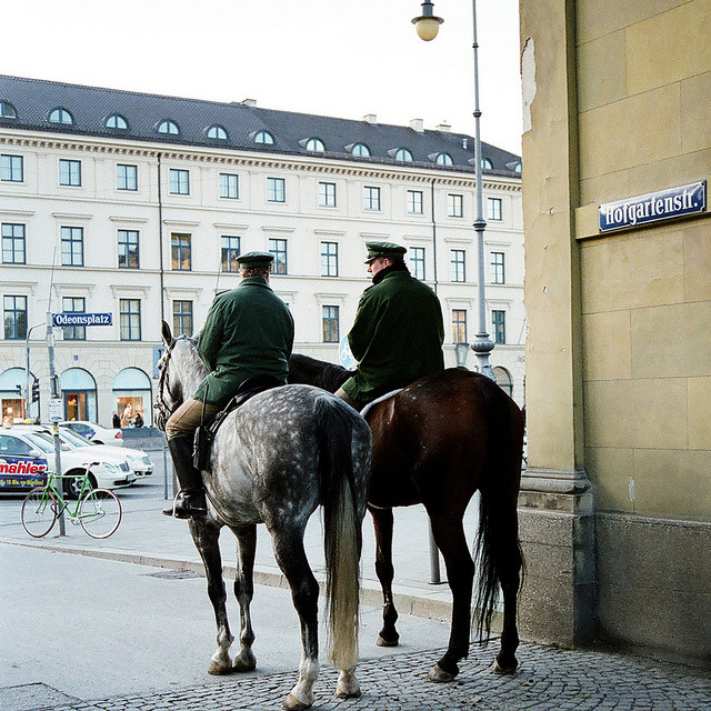 | ♕ |  Equestrian Cops in Munich  | by © Peter Gutierrez | via ysvoice