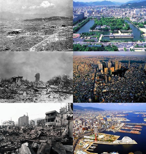 Japan's history of rebuilding after major disasters Hiroshima 1945 - Hiroshima Today Tokyo 1923 - Tokyo Today Kobe 1995 - Kobe Today
