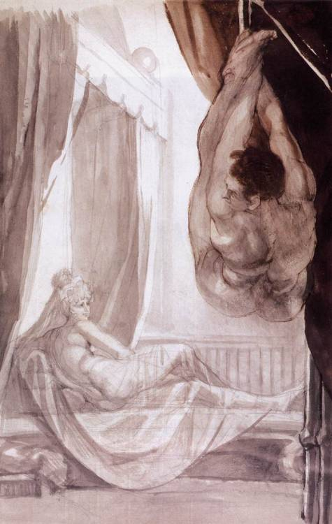 Henry Fuseli(1741-1825), Brunhild Watching Gunther Suspended from the Celling, 1807, Pencil, ink and wash, 48.3×31.7 cm, Nottingham Castle Museum