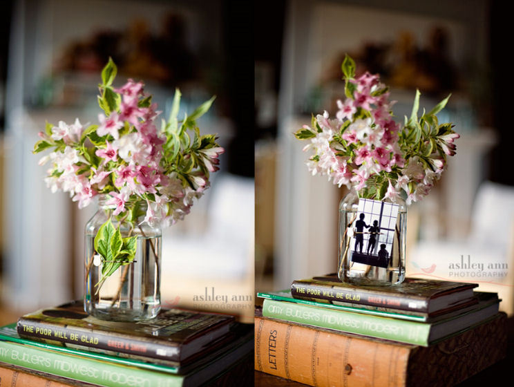 Hairpin Vase | Ashley Ann Photography This is such a clever idea! When I first saw the post 'hairpin vase' I thought it would be something weird, like a vae covered in bobby pins! But this is so cool. I love adding little things around the house, sweet little tidbits that make me smile and brighten my morning. Maybe I should start adding bobby pins to everything so I can put little pictures everywhere! This would also be a fantastic bonboniere (sp!?) for a wedding - not only would you not need any extra table decorations, but you could also use them as either placecards or you could even put pictures from the wedding in there!