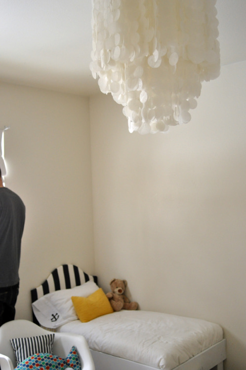 DIY Chandelier, perfect for ceiling mount fixture. $9? Sure why not! Via Design Mom