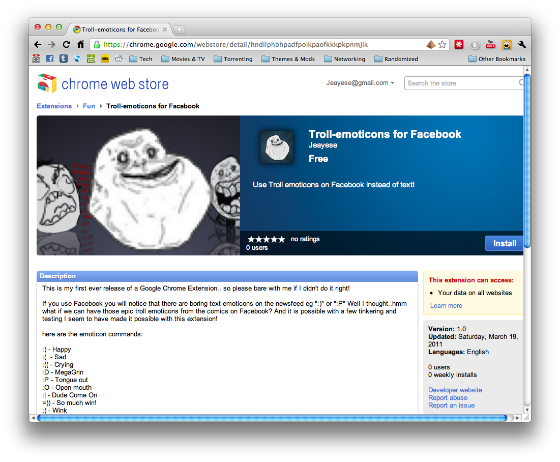 I have released my Google Chrome Extension! so now anyone can use the Troll emoticons on Facebook! Like/ Reblog if you use it!