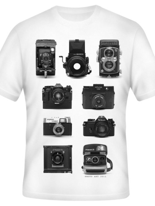 "Limited Edition Camra T-Shirt!!! suport Art! Photographic Art 2011 students have designed this T-shirt to help them fundraise for there graduation. there are only a limited number though! They have been up for sale for one day and there being bought up very fast! Click here to buy the T-shirt. ———— Little background on the T-shirt, all the cameras are owned by the students in Photo Art 2011, they also took all the photos themselves so this isn't another ""stock"" photo T-shirt it is a one off. After they are all sold there wont be anything like this again."