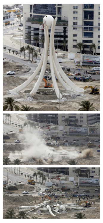 newsflick:  Bahrain destroyed the statue at the Pearl roundabout, the focal point and symbol of weeks of pro-democracy protests there. See the full story here.