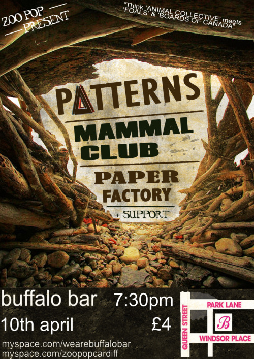 The amazing 'Patterns' play zoo pop @ Buffalo on the 10th of April. Think ANIMAL COLLECTIVE meets FOALS & BOARDS OF CANADA. www.myspace.com/maliciouspixels