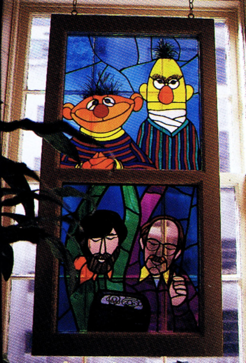 Happy 75th Birthday Jim… heyoscarwilde:  Stained glass window that hung at Jim Henson Production's headquarters in New York City in the 1980's. scanned from Jim Henson: The Works :: Random House Inc :: 1993