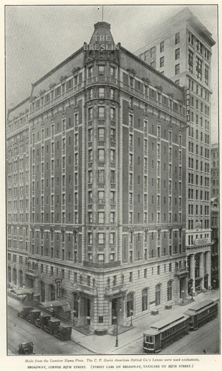 The Breslin Hotel, where the Ace Hotel New York now stands, in 1910, with very tidy taxicabs and streetcars and clouds in her hair. The window Diplo hung out of 100 years later is 5 stories up.  Thanks to Arthur Fournier of Retro|Verso.