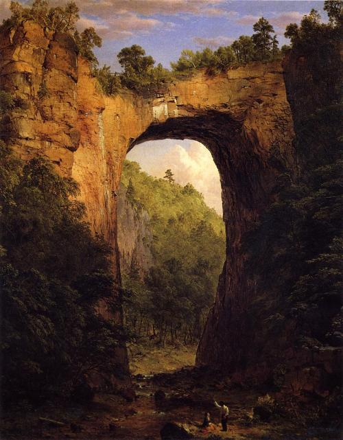 Frederic Edwin Church (1826-1900)The Natural Bridge, VirginiaOil on canvas185258.42 x 71.12 cm ___ For his spectacular and panoramic paintings of the wilderness of North and South America, Frederic Edwin Church was a dominant figure in the second generation of the Hudson River School. His canvases celebrated the drama of the American frontier and expressed the expansionist and optimistic outlook of the United States in the mid-nineteenth century. Artrenewal.org