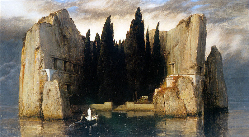 Island of the Dead  Arnold Bocklin (1827-1901)Island of the DeadOil on canvasMuseum fur Bildende Kunste (Leipzig, Germany) ___ This painting was remade five times between the years 1880-86, and so  five different versions exist.  The initial impulse for the picture was a  request made by Marie Berna, whose husband had died, for Böcklin to  depict her bereavement thematically.Island of the Dead invites  contemplation on the mystery of what lies beyond death.  The boatman is  reminiscent of Charon and the waters bring to mind the ancient river  Styx, across which Greeks believed the souls of their dead traveled to  Hades.The stones and trees make for an interesting comparison –  both are symbols of the natural world, the former dead and cold, the  latter alive yet silent.  The apparent lack of human life on the island  is made poignant by the inferable knowledge that once upon a time, the  stone ruins must have housed living men.  Now, however, like death, the  island is an isolated, isolating, and lonesome place. Source: Litmed.med.nyu.edu  via welovepaintings
