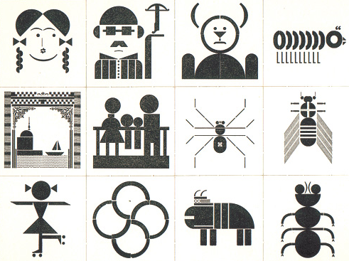 From Built Icons | Memory Game,  the designs of Marcel Gohring of Druckwerk, a printing studio in Basel, Switzerland. This is a game of a set of letterpress printed cards, each printed using wood and metal punctuation, letters and ornaments to create the various images.