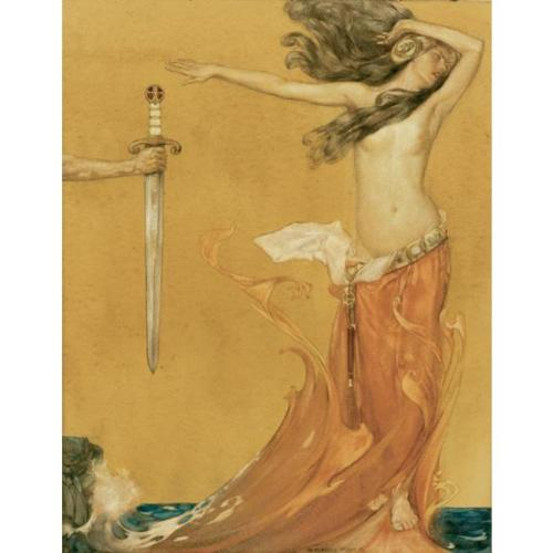 fairytalesandfrills: 1910-1 Sir William Russell Flint (Scottish 1880-1969) ~ from Le Morte d'Arthur - Book XIV Chapter 10: And so she went with the wind roaring and yelling, that it seemed all the water brent after her.