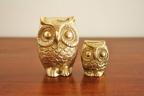vickiminor:  Vintage pair of solid brass owls  want!