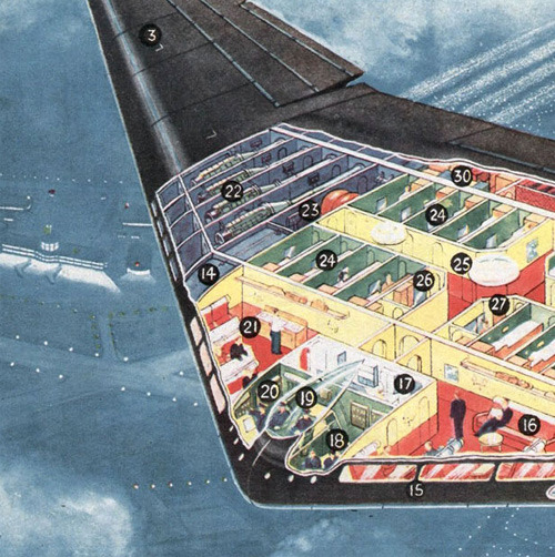 "sunday fantasy #299: ""A Flying Wing Jet Air-liner of the Future"", from The Eagle  via this great Flickr set by modern_fred"