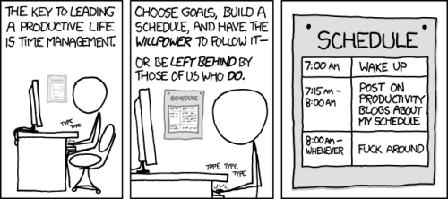 (@hotdogsladies) I could not have said it better if I WAS Merlin Mann… XKCD rules! We listen to lots of productivity talk, then we take 5 minutes to implement some system, then we DO STUFF FURIOUSLY! (via xkcd: Time Management)