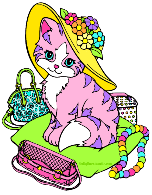 I bought a Lisa Frank coloring book at a dollar store. I scanned a few of the pages and cleaned them up in Gimp, and then colored it.